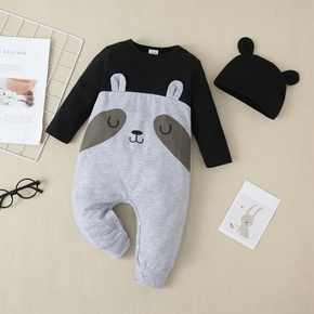 2-piece Baby Raccoon Jumpsuit with Hat