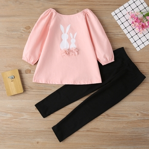 2-piece Toddler Girl Cute Rabbit Print Flower Embroidery Blouse and Black Leggings Set