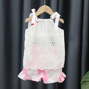 2pcs baby Girl Sling Solid Top Floral Print Cotton Summer Baby's Sets