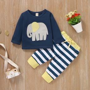 Baby Elephant Applique Top and Striped Pants Set