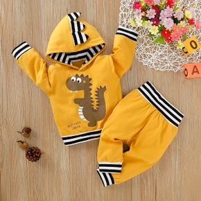 Baby Boy Dinosaur Print Striped Cuff Pullover And Pants Set
