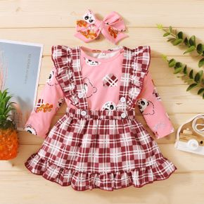3-pcs Baby Girl Animal Sweet Suit-dress Romper Fashion Long Sleeve Infant Clothing Outfits