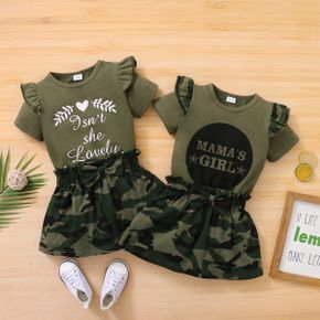 2-piece Baby/Toddler Suit Letter Ruffled Top and Camouflage Skirt