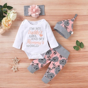 4pcs Baby Girl school Letter Baby's Sets