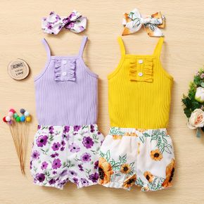 3pcs Baby Girl Sweet Solid Top and Floral Shorts Set with Headband