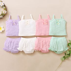 2pcs Baby Girl Multicolor Casual Top and Shorts Set