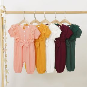 Baby Solid Bow Ruffle Short-sleeve Jumpsuit