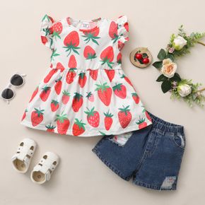2pcs Toddler Girl Strawberry  Short-sleeve Shorts Sets