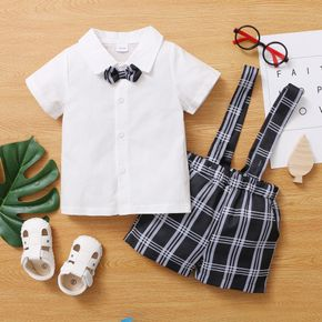 Baby / Toddler Boy Shirt and Plaid Strap Shorts Gentleman Suit