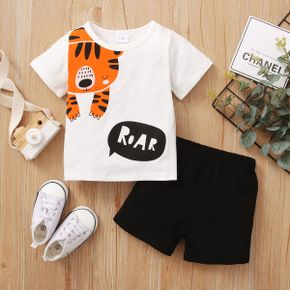 2pcs Baby Unisex casual Animal Tiger Cotton Solid Shorts Baby's Sets