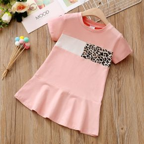 Toddler Girl Leopard Colorblock Ruffle Flounce Dress