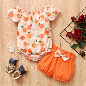 2pcs Baby Girl Short-sleeve Cotton Vacation Fruit Baby's Sets