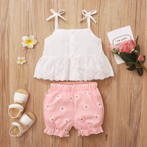 2pcs Baby Girl Sling Sweet Floral Baby's Sets