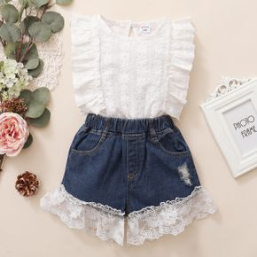 Trendy Toddler Girl Lace Ruffle Flounced Top And Denim shorts