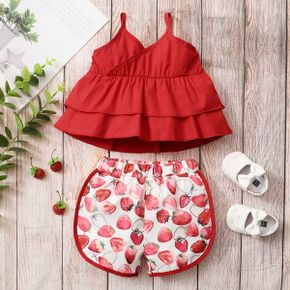2pcs Baby Girl sling Cotton Sweet Strawberry Baby's Sets