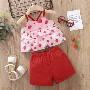 2pcs Baby Girl Sweet Strawberry Baby's Sets