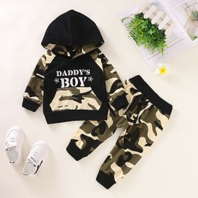 Baby Boy DADDY'S BOY Print Camouflage Long-sleeve Hoodie and Pants Set