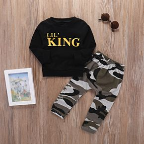 2-piece Cool LITTLE KING Top and Camouflage Pants Set