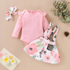 3-piece Baby / Toddler Solid Top, Floral Suspender Skirt and Headband