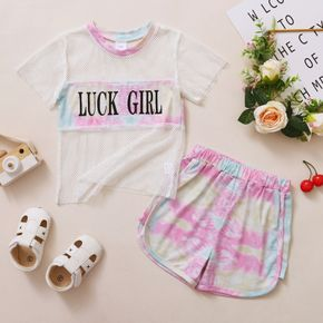 Toddler Girl Letter Print Short-sleeve Tee And Tie dye Shorts