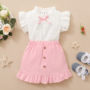Toddler Girl Sweet Bowknot Ruffle-sleeve Top And Pink Short skirt