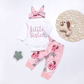 Baby Girl's LITTLE SISTER Print Bodysuit, Floral Pants and Headband Set