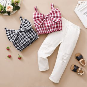 Trendy Toddler Girl Plaid Bowknot Tank And White Pants