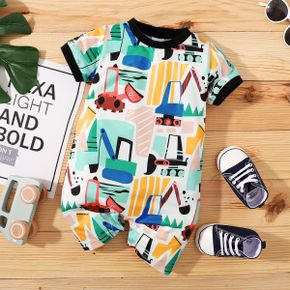 Baby Boy Short-sleeve Casual Vehicle Print Romper