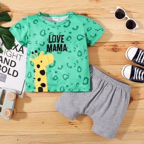 2pcs Baby Boy Short-sleeve letter Giraffe Print Polyester & Cotton Baby's Sets