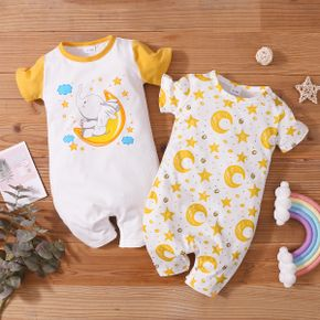 1pc Baby Girl Short-sleeve Cotton casual Animal&Stars&Elephant Rompers & Bodysuits