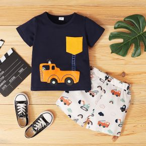 Toddler Boy Car And ladder Print Short-sleeve Tee And Shorts