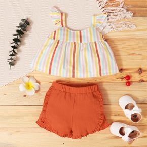 2pcs Baby Girl Sleeveless  Stripes Print Polyester Summer More Festivals Sets Baby's Sets