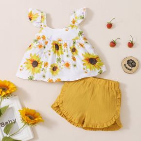2pcs baby girl Floral Sunflowers Print Polyester Summer More Festivals Sets Baby's Sets