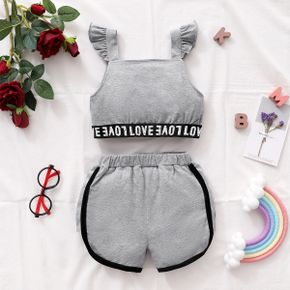 Toddler Girl Cool Letter Print Tank Top And Shorts