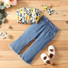 2pcs Floral and Solid Denim Baby Set