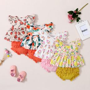 2pcs Baby Girl Flutter-sleeve Floral Food Print Baby's Sets