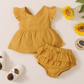 2-piece Baby Girl 100% Cotton Flutter-sleeve Backless  Bowknot Solid Top and Ruffled Shorts Set