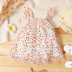 1pc Dotted Multi Color Mesh Layered Flutter-sleeve Baby Dress