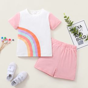 Rainbow Print Tee and Shorts Athleisure Set for Girls