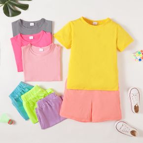 Solid Tee and Shorts Athleisure Set for Toddlers/Kids