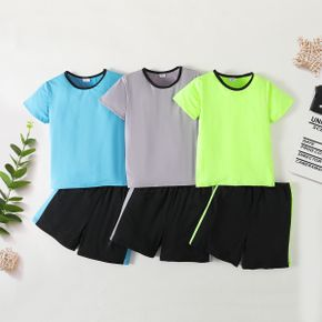 Basic Color Block Short-sleeve Tee and Shorts Athleisure Set for Toddlers / Kids