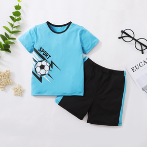 Football Print Short-sleeve Top and Shorts for Toddlers / Kids