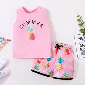 Pineapple Print Tank Top and Shorts Athletic Set in Pink for Toddlers / Kids