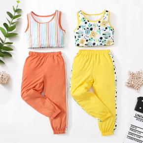 Stripe Floral Print Tank Top and Pants Athleisure for Toddlers / Kids