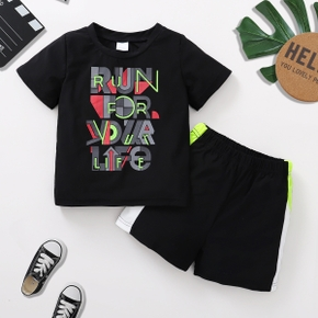 'Run for your life' Color Block Letter Print Tank Top and Shorts Athleisure for Toddlers / Kids