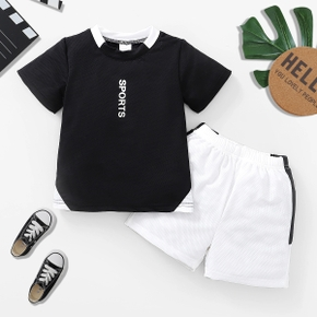 'Sports' Print Mesh Tee and Shorts Athleisure Set for Toddlers / Kids