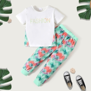 Letter Print Tee and Coconut Tree Pants Athleisure Set for Toddlers / Kids