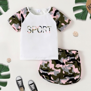 2-piece Toddler Girl Letter Camouflage Print Tee and Shorts Athleisure Set