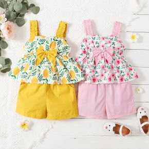Toddler Girl Floral Print Bowknot Tank Top and Solid Shorts with Pocket Set