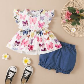 Toddler Girl Ruffle-sleeve Butterfly Print Layered Top And Denim Shorts